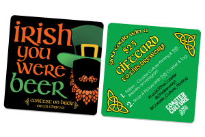 An example of a contest on a drink coaster