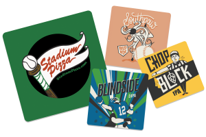 An example of several designs of coasters