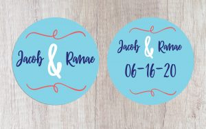 Bride and Groom Name Custom Wedding Coasters